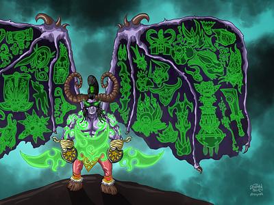 Fan Art of Illıdan Stormrage - World of Warcraft Legion london illidan demon cartoon doodle wow worldofwarcraft warcraft blizzard