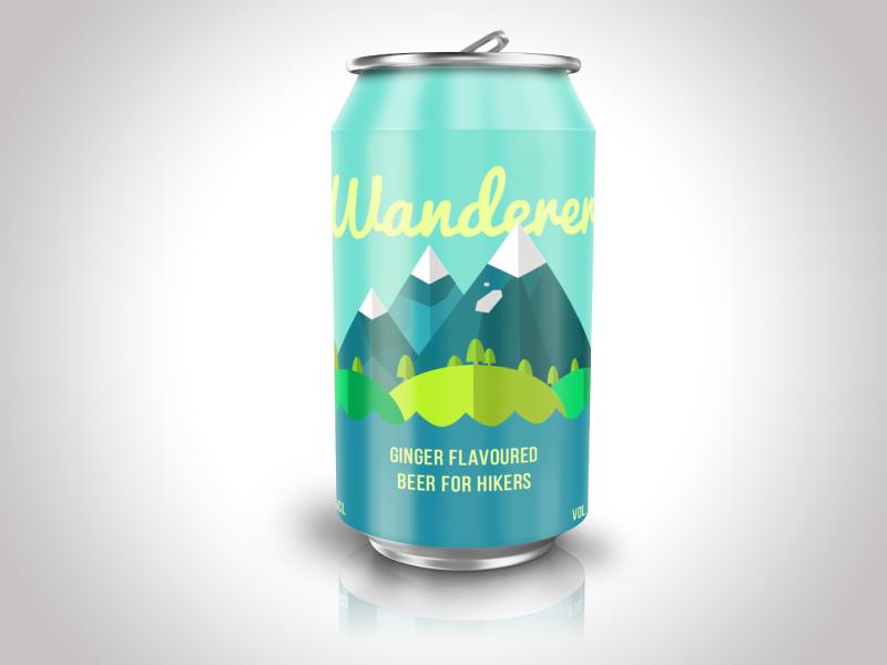 Wanderer beer can design wander can beer hikers packaging