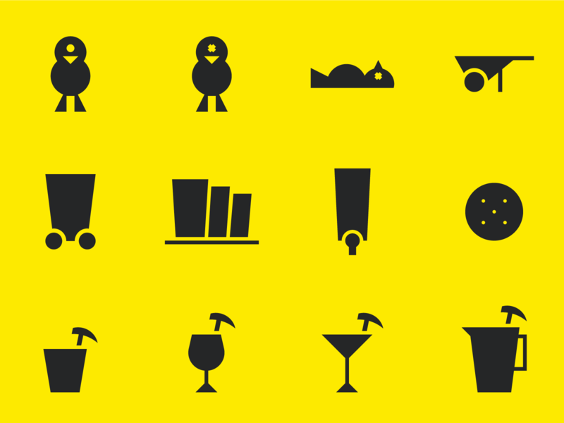 Crafty Canary Brewery Icons bird minimalism hazard brewery warning glassware beer canary iconography mining