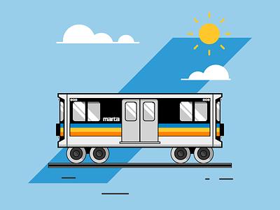 All Aboard! public transportation transit marta atlanta train vector illustration icon