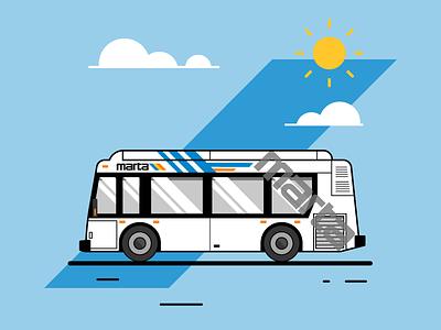 Ride Or Die vector transit bus public transportation marta illustration icon atlanta