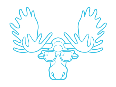 Party On Moose! character illustration logo restaurant bar outdoor wilderness animal antlers moose