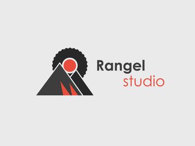 Rangel Studio Concept branding concept logo wheel fictive mountain red grey flat training