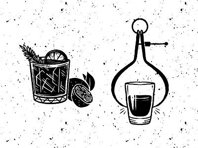 JORNAL dark rough restaurant alcohol shots drinks procreate handmade custom illustrations custom illustration branding blackandwhite