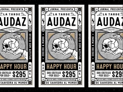 JORNAL hand logo branding handmade bar dark rough pattern black and gold black and white drinks skull happy hour tipography vector illustration posters poster
