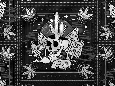 Bandana black line handmade dark illustration cactus pattern psychedelic drugs mushrooms 420 weed frog skull bandana