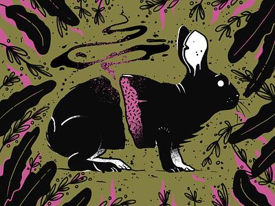 Beautiful decay magical dream rabbit illustration fantasy blackandwhite distressed texture soul spell procreate dark black magic cursed design handmade illustration rabbit
