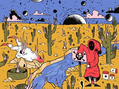 Soul collector texture procreate illustration dark handmade psychedelic magic cactus sky planets universe design desert illustration landscape desert skull death