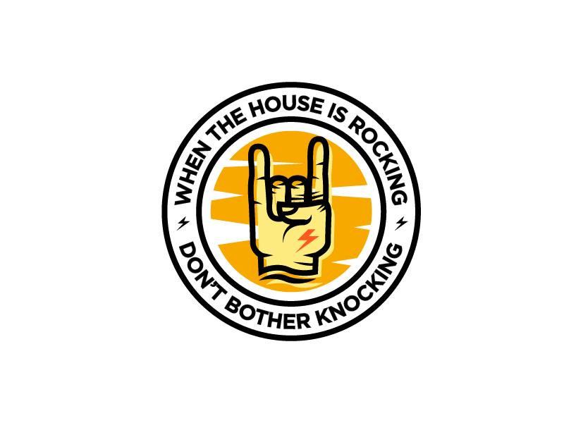 Rocknrolla2 circle quote house badge thunder hand metal roll n rock