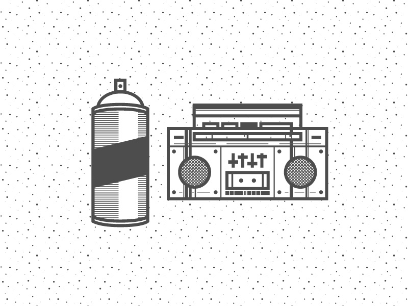 HipHop 04 hip hop stereo can line icon pattern