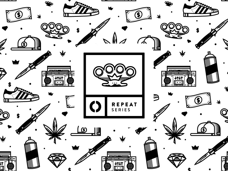Pattern hip hop dagger crown diamond stereo spray shoe adidas cash weed icon pattern