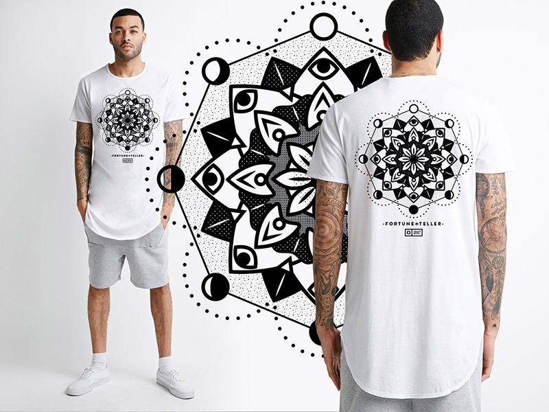 Fortune teller print space dark black flower fortune mandala print shirt
