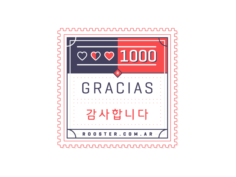 1k Likes thank you heart line 1000 stamp