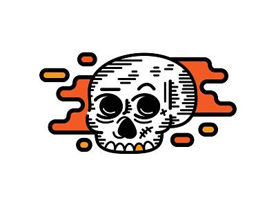 Skull scar bones teeth golden illustration vector skull line