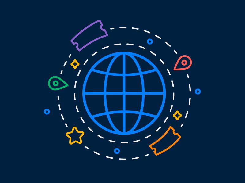 Worldwide Tickets fan orbit planet star icon location tickets world worldwide