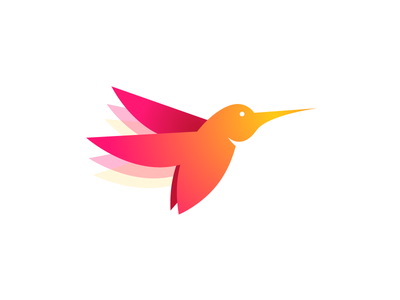 Hummingbird fly pallete colorful gradient iso logo rainbow color bird hummingbird