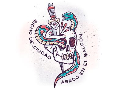 Snake+Skull+Dagger traditional handmade illustrator skull dagger snake illustration tattoo
