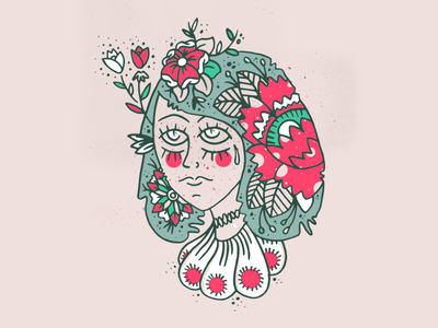 Lady of the flowers girl face natural tattoo traditional eyes handmade illustration flowers