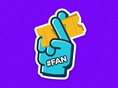 Fan Stickers icon vector tickets hand sticker fan