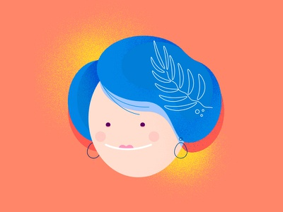 Lady of the flowers blue avatar portrait hair female face icon woman granny lady