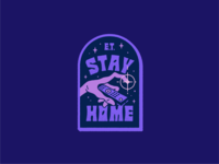 E.T. Stay Home badge hand drawn movie design typography illustration badge design