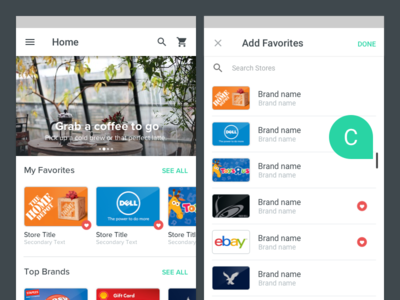 Favorites for Android material design android card favorites