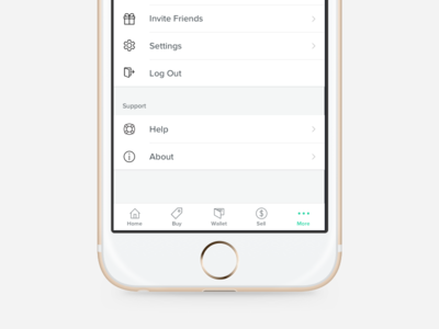 More Screen ios app app log out about iphone tab navigation help settings more ios