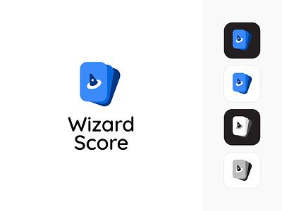 Wizard Score App Logo design minimal vector illustration blue score app icon branding logo wizard