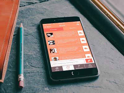 Kioh social app design for iOS ios app application slim ui ux red white social