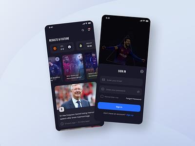 Sports app sports news login football soccer match dark mode product design mobile design