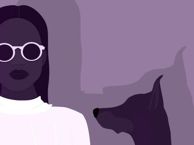 Stylish Duo portrait shadows pet style dog girl fashion illustration