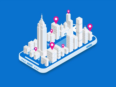 NYC - Zumper OOH Campaign vector rental zumper nyc isometric isometric illustration illustration