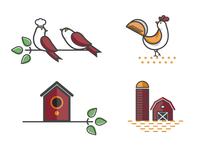 Birds and Farm Icons