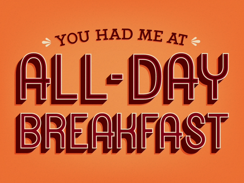 All-Day Breakfast postcard typography type side project lettering custom type