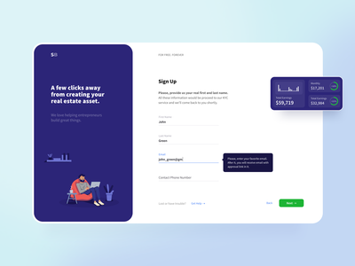 Onboarding illustration crisp clean white blue wizard input form field sign up stats web onboarding