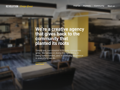 Revolution Design Group: Home Page Redesign font guassian blur yellow minimal redesign page web