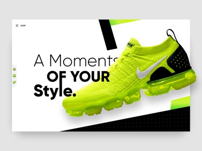 Sports shoes concept web page design
