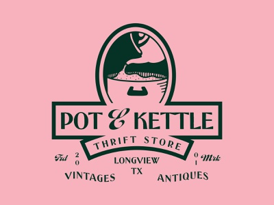 Pot & Kettle Thrift Store fashion illustrator vector texture typography logo illustration graphic design branding design