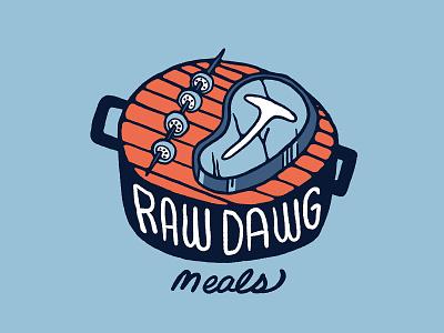 Raw Dawg Meals Grill steak skewers grilled food grilling grill meat eater health food health food branding illustration branding foodie graphic design