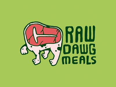 Raw Dawg Meals Steak health food keto branding health food branding grilling grill dog mascot logo branding design typography illustration graphic design carnivore meat meat eater steak