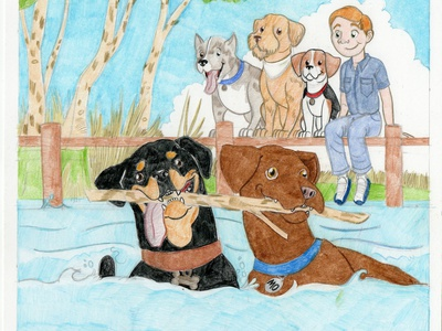 My Best Friend Mo page 14 pets illustration colored pencil childrens illustration
