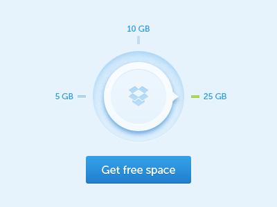 Dropbox free space dial button