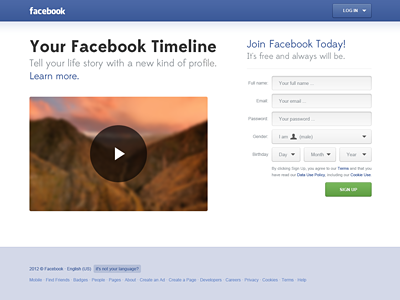 Facebook Sign Up Homepage redesign