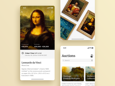 Art Auction Hall Mobile App search splashscreen cards auction painting gallery art minimal ios mobile app typography