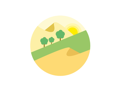 Desert Farm Concept illustration sun tree farm desert