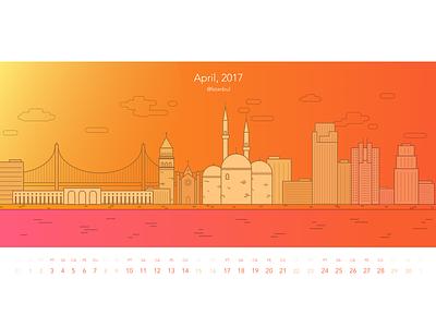 April Calendar galata bosphorus illustration istanbul calendar