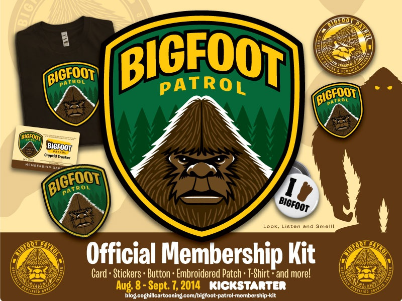Bigfoot Patrol Kickstarter Header Image Design paranormal patch art cartoon character cartoon character drawing cartooning illustration vector illustrator bigfoot