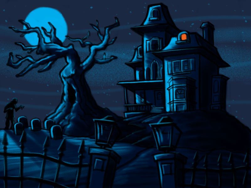 Haunted house cartoon sketch by george coghill on dribbble - Cartoon haunted house pics ...