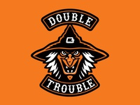 """Double Trouble"" Witch Halloween Biker Patch"