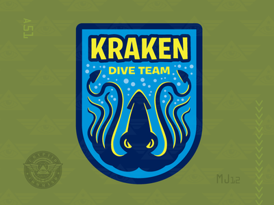 Kraken Dive Team embroidered patch military patch cryptozoology cryptid creature monster